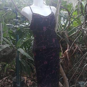 Betsey Johnson pink and black jeweled dress Xs